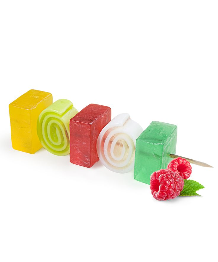 Soap Kebab Green WhiteInspired by the delicious fruit kebab recipe,  this amazing colourful soap is a twist of yellow, red, green and white soap blocks on a wooden stick.  Feel like in a paradise with this delicious recipe of of sun ripened strawberry combined with lemon juice and melon taste, finished with some aloe hints. This soap takes you during bathing to a paradise.