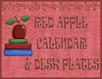 Red Apple Calendar and Desk Plates