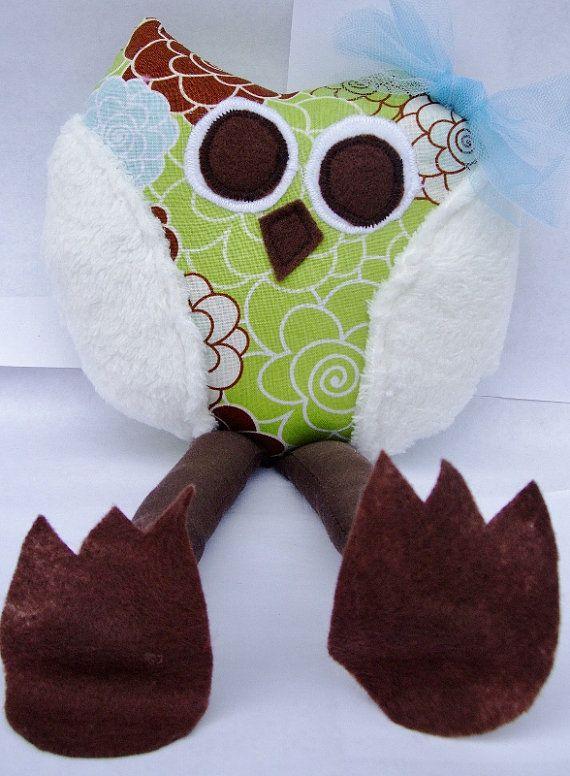 Whimsical Owl, Soft Stuffed Animal, Toy Plush Rattle, Stocking Stuffer, Baby Toy, Toddler Toy on Etsy, $17.00