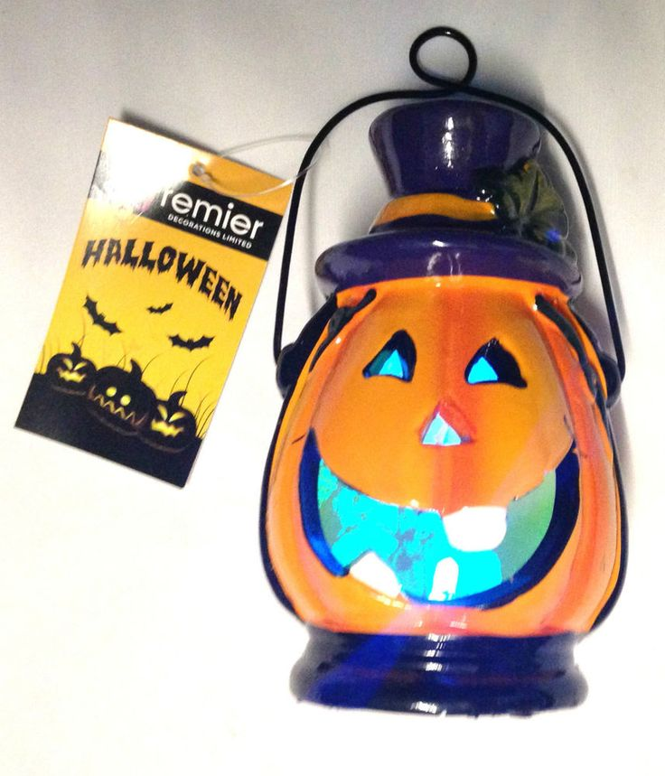 Premier Halloween Battery Operated LED Lantern Pumpkin Face Design