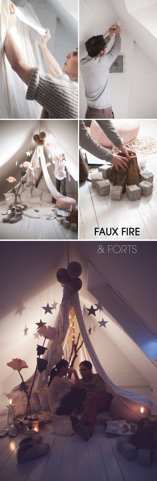 Faux Fire and Forts - wonderful ideas for kids