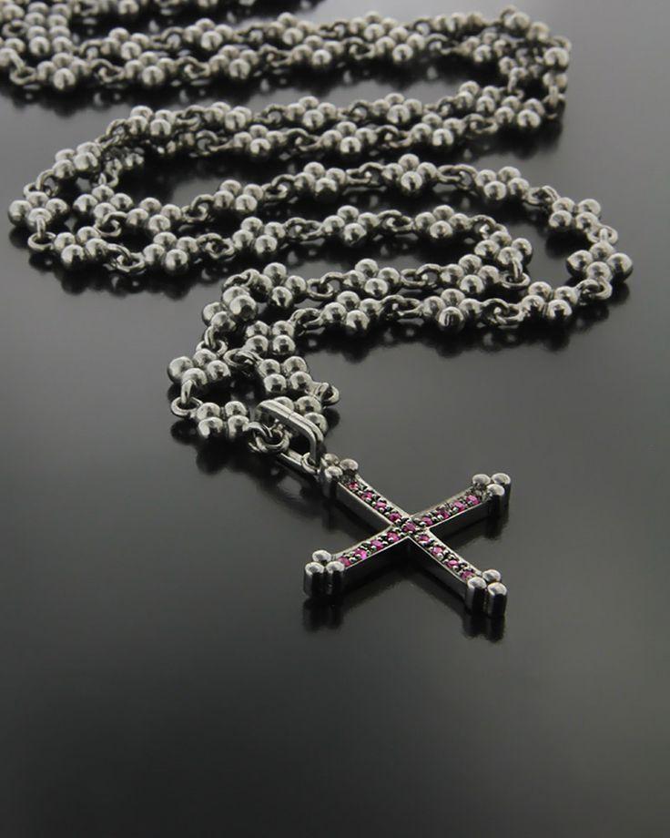 Χειροποίητο Κολιέ Σταυρός με Ρουμπίνια