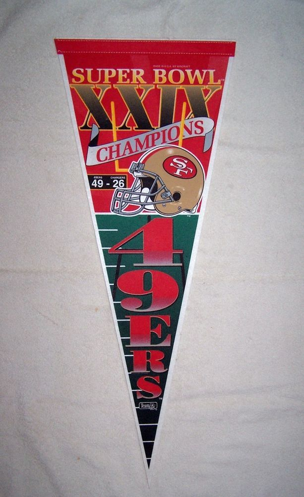 super bowl xxix pennant 49ers vs chargers  mint! from $4.99