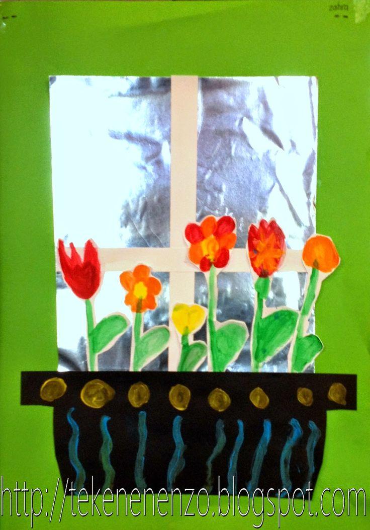 Nodig: groen-, zwart- en licht karton voor de glasstijlen, zilverfolie, wit karton waarop de bloemen geschilderd worden met blokverf. zorgvuldig uitknippen en opplakken waarbij de bloemen niet helemaal geplakt worden zodat ze los van het papier komen.
