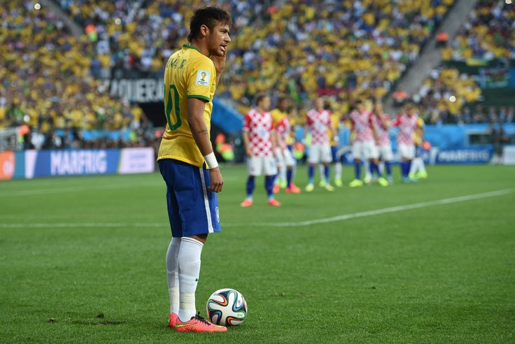 Brazilian superstar, Neymar, lines up a free kick