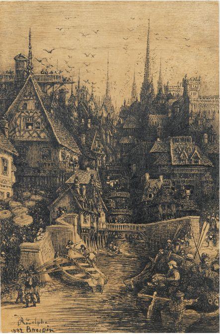 Rodolphe Bresdin (1822-1885), Veduta di una città medievale, 1882, penna e inchiostro nero.
