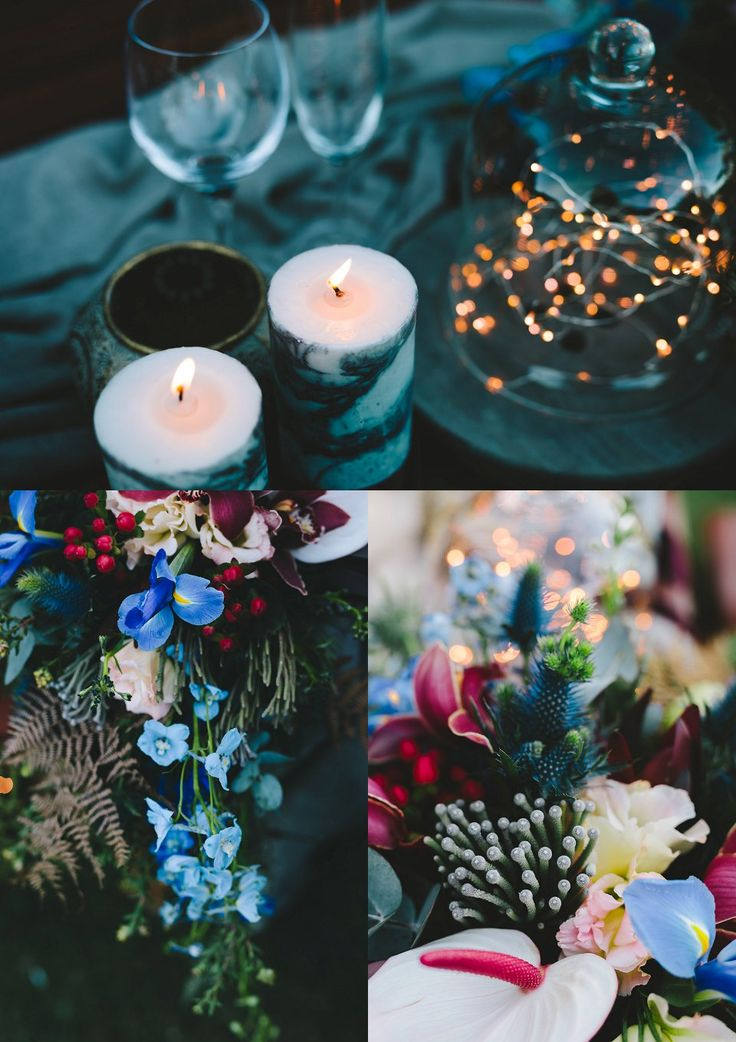 Cobus & Kat's Picnic style, Forest elopement | blue , burgundy flowers, with marbled candles & fairy lights