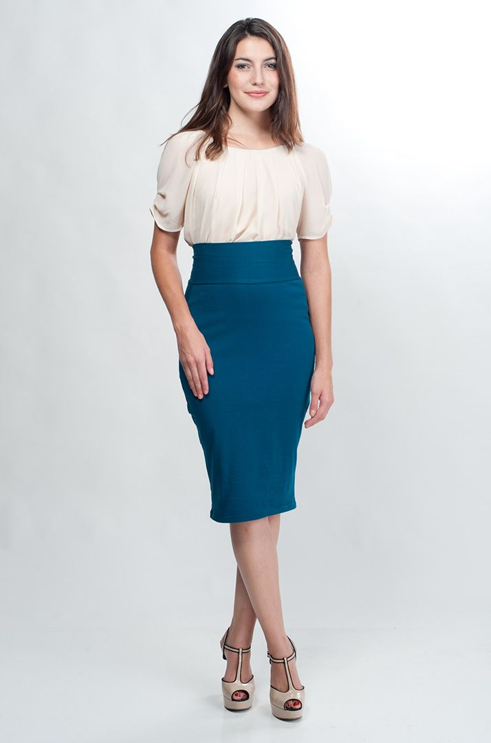 I would wear this to a job interview... Teal High Waisted Pencil Skirt by Many Belles Down