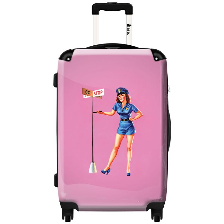 iKase 'Pin-up, Pink Backround',Check-in 24-inch .Hardside Spinner Luggage