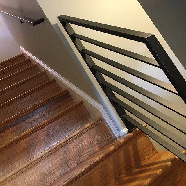 Modern Minimalist 2x1 Custom Wrought Iron Hand Rail Stair Step