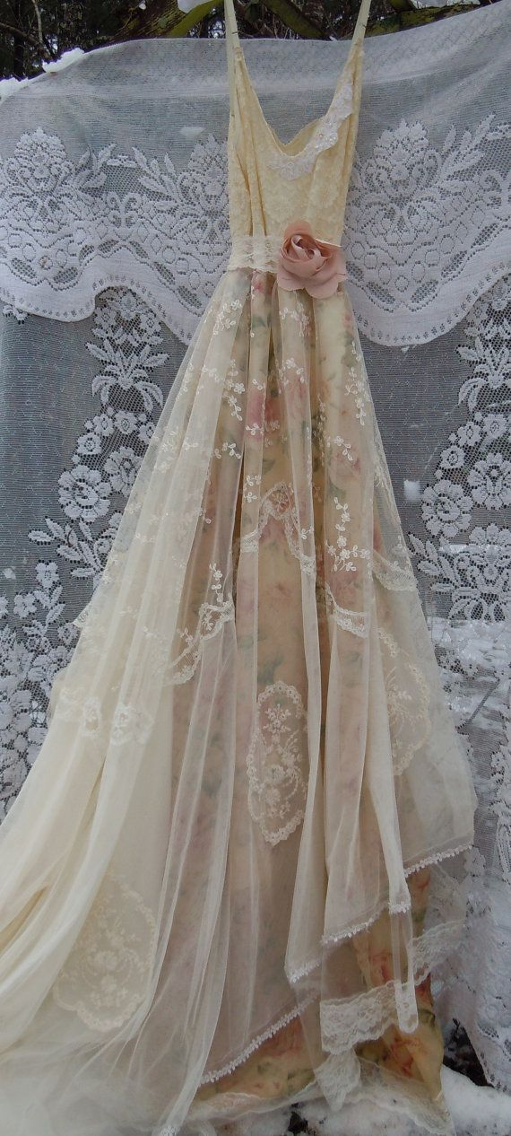 38 best kristens wedding images on pinterest wedding ideas lace wedding dress boho nude floral cream by vintageopulence junglespirit Choice Image