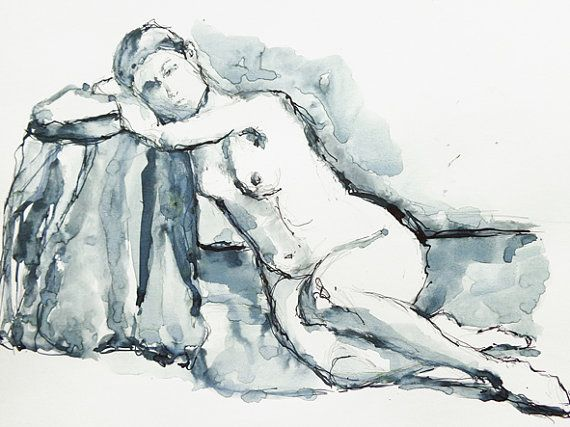 Sitting nude woman ink sketch blue black and white drawing.