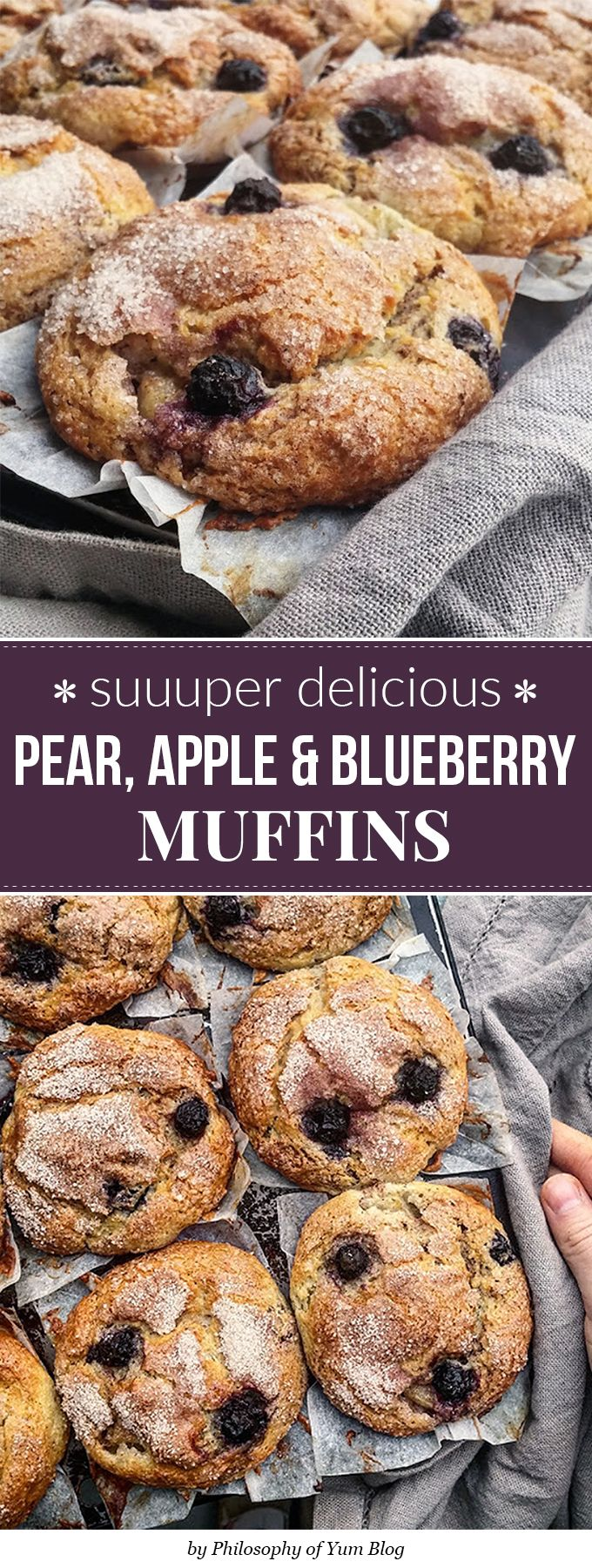 These Pear, Apple & Blueberry muffins are so light, tender and moist! Great muffins for an on-the-go healthy breakfast. The crunchy cinnamon sugar crust on top pairs perfectly with the muffin's soft crumb underneath. And the bursts of fresh, dark blue-purple blueberries throughout the muffins just makes you swoon!