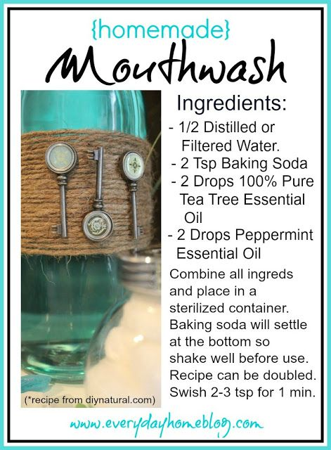 Homemade Mouthwash - The Everyday Home // 1/2 cup water, 2 tsp baking soda, 2 drops tea tree EO, 2 drops peppermint EO