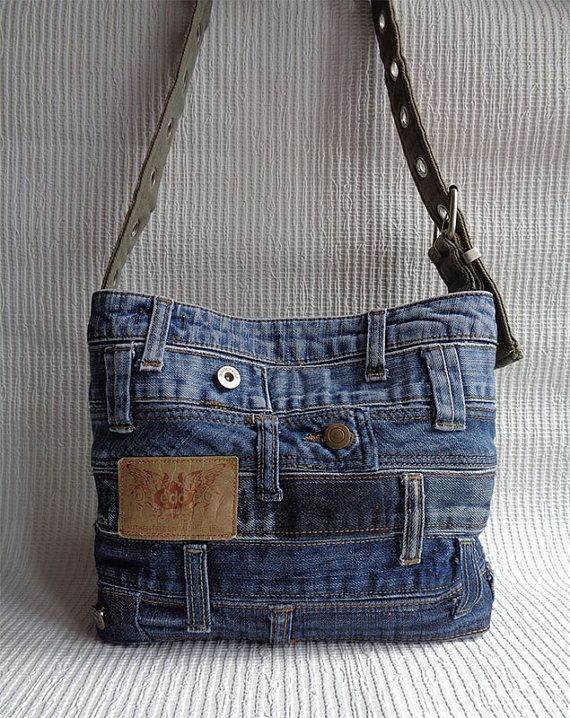 Cruz bolsa de plástico reciclado del hombro bolso Denim bolso agobiados rock…