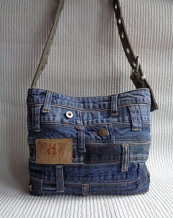 Cruz bolsa de plástico reciclado del hombro bolso Denim bolso agobiados rock grunge