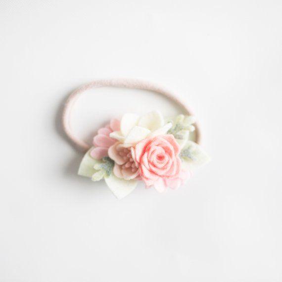 Rhinestone Felt Flower Large Wool Felt Flower Headband Flower Newborn Baby Headband Pearl Headband