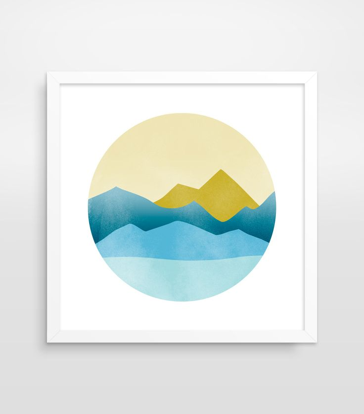 Geometric mountain art print inspired by mid century modern style. This modern wall art is great for decorating your living space, bedroom or office. PRINTS • 1/4 inch white border included in size •