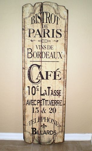 French Country Bistro Bordeaux Cafe Wood Wall Plaque 50 Tall Ebay