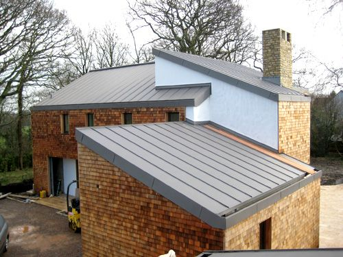 ZInc roof with sleek guttering