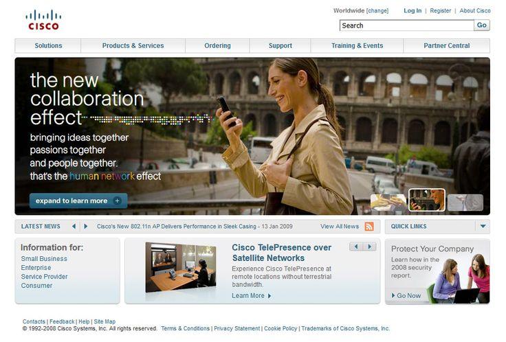 Cisco website in 2008