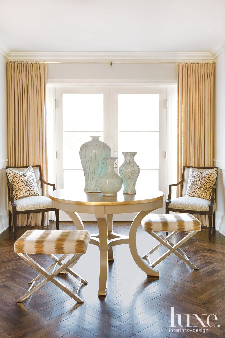 This Sitting Area Is Flooded With Light Through Opaque French Doors The Trio Of Vases Sits On Top Refinished Taupe Lacquer Table Gold Edges And