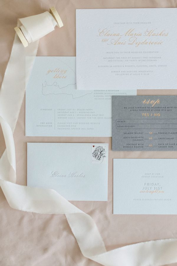 Chic blue + grey invitation suite: http://www.stylemepretty.com/little-black-book-blog/2016/01/19/rustic-elegant-crete-destination-wedding/ | Photography: Anna Roussos - http://annaroussos.com/