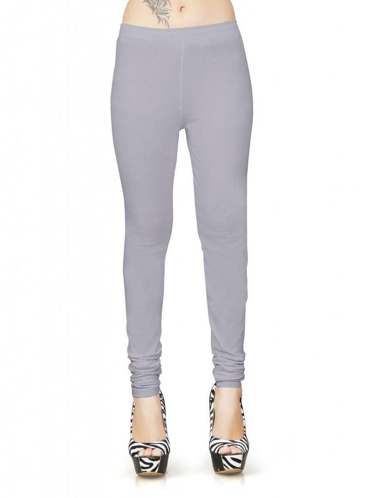 Grey Cotton Lycra Biopolish Full Length Leggings