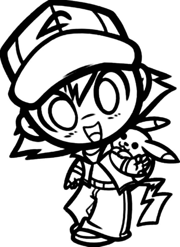 Chibi Ash Ketchum And Pikachu On Pokemon Coloring Page Sketch