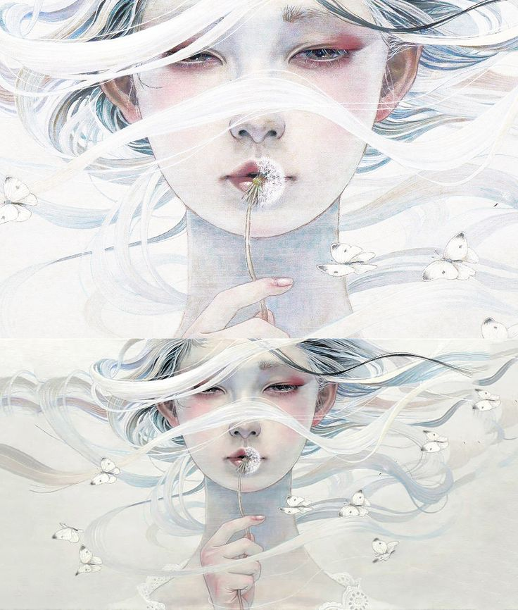 Miho Hirano artist- love the combo of soft/realistic painterly style and line quality