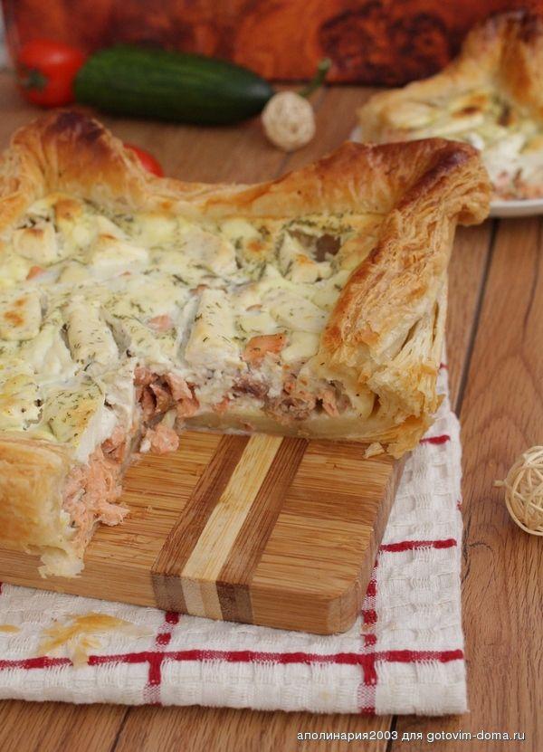 Рыбный пирог с плавленым сыром