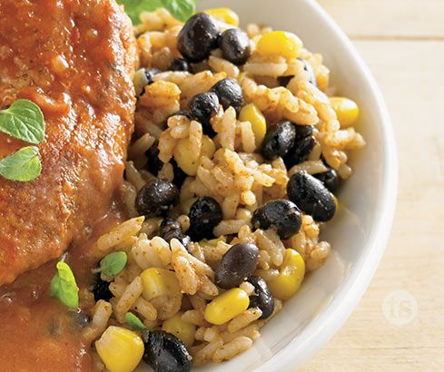 Wahoo Rice & Beans with Corn │A zippy twist on a favorite Tex-Mex side dish! Rice, beans and corn a punch of flavor from chili seasoning.