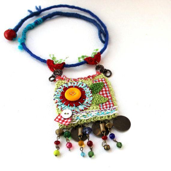 Tender Love. Sweet fiber necklace. Statement beautiful necklace. OOAK