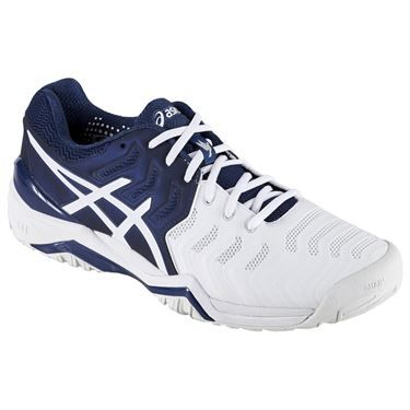 Asics Gel Resolution 7 Novak Djokovic Men's Tennis Shoe, in a navy blue,  white