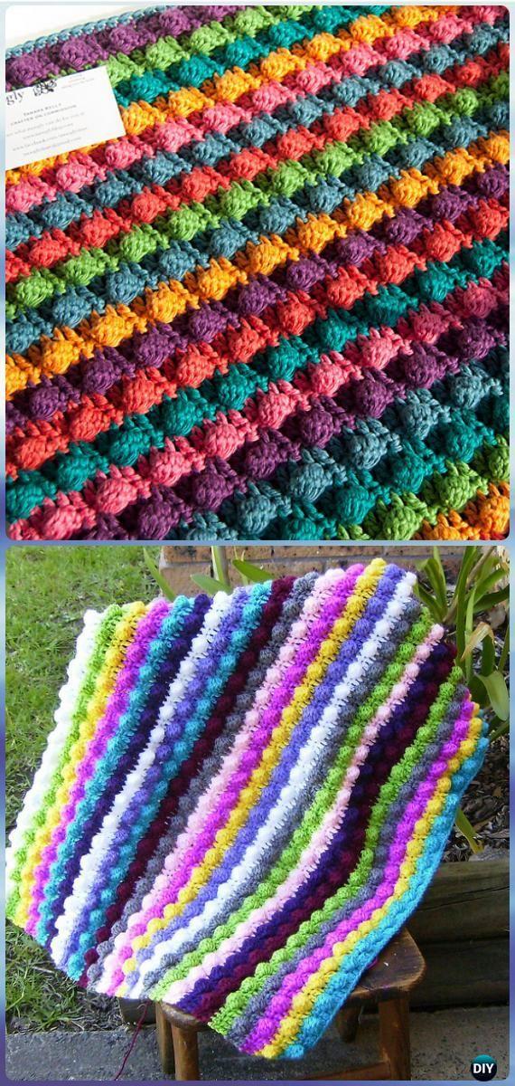 Crochet Blackberry Salad Striped Baby Blanket Free Pattern - Crochet Rainbow Blanket Free Patterns