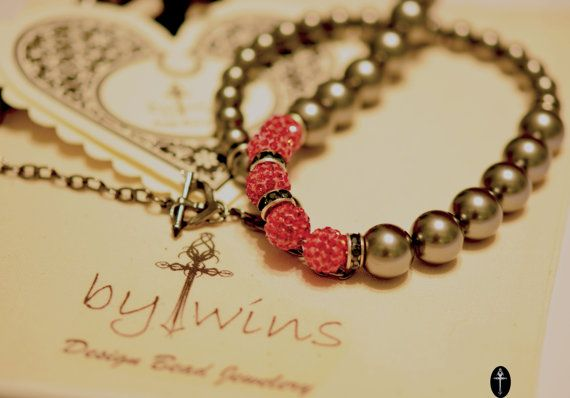 Swarovski Pearls Beaded Necklace grey color with  red shamballa beads
