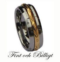 """""""Amors Gyllene Pilar"""" Tungstens Ring i Naturlig Högblank Finish med Gyllene…"""