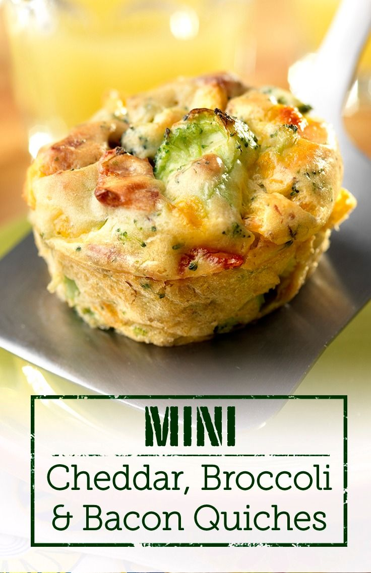 This Mini Cheddar, Broccoli & Bacon Quiche recipe is delicious and great for breakfast, brunch, or as an appetizer. Try it out!