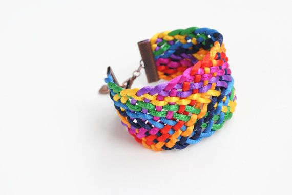 Multicolor satin cords braided bracelet ROYGBIV by elfinadesign