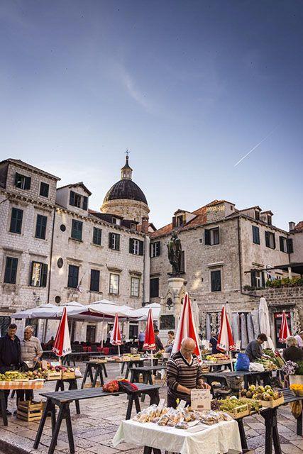 Stalls in market square, Dubrovnik.