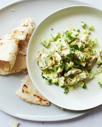 This is really light and delicious: Chicken Salad with Tahini-Yogurt Dressing Recipe