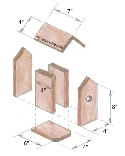 """""""The Tall Texan""""  Free birdhouse plans - this plan is called the Tall Texan because of its height, and because its roof is painted similar to a Texas flag.  Of course, you don't have to paint the roof at all.   from http://www.mycarpentry.com/"""