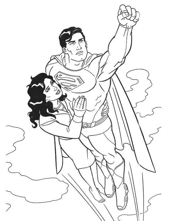 Superman fly with girl coloring page