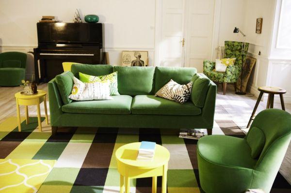 32 idées canapé moderne pour le salon - vert-canape-moderne-ikea-