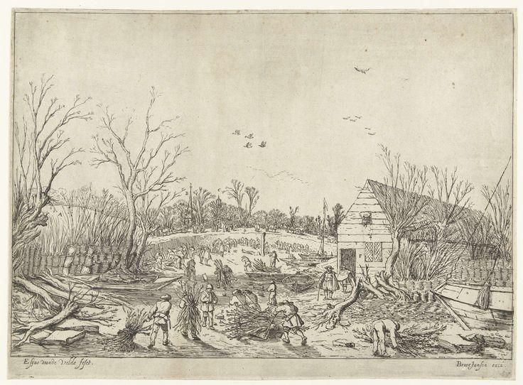 Esaias van de Velde | Herstelwerkzaamheden aan de doorgebroken Lekdijk bij Vianen, Esaias van de Velde, 1624 - 1640 | De doorgebroken Lekdijk in 1624. Mannen met takkebossen op hun rug lopend door de droge rivierbedding van de Lek. Boten zijn drooggelegd. Met takken wordt de Lekdijk hersteld. In de verte de toren van de kerk van het dorp Vianen en de Domtoren van Utrecht.