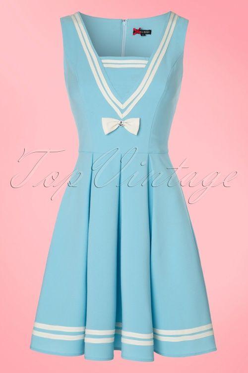 Bunny Sailor Ruin Sky Blue Dress 1950s vintage look jurk licht blauw matroos stijl jaren 50