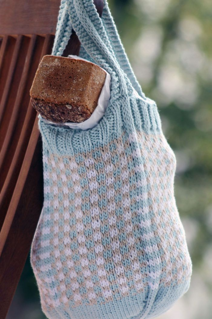 Free Knitting Pattern For Little Check Market Bag This 3 Color