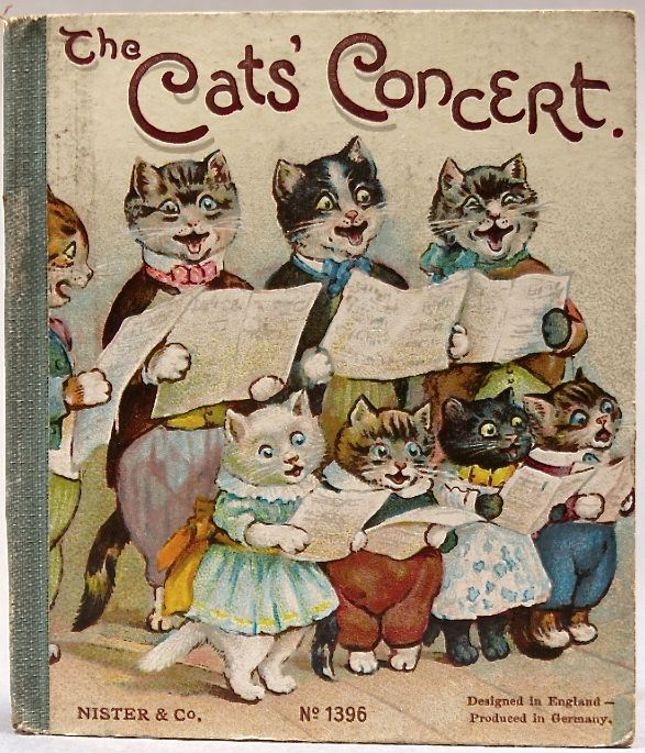 """A miniature Victorian children's story book, 'The Cats' Concert' by Maria A Hoyer, published by Ernest Nister in 1895. It has a colorful chromolithograph cover with 4 chromolithographs inside, along with line illustrations. It has 12 pages and measures 3.5"""" by 3""""."""