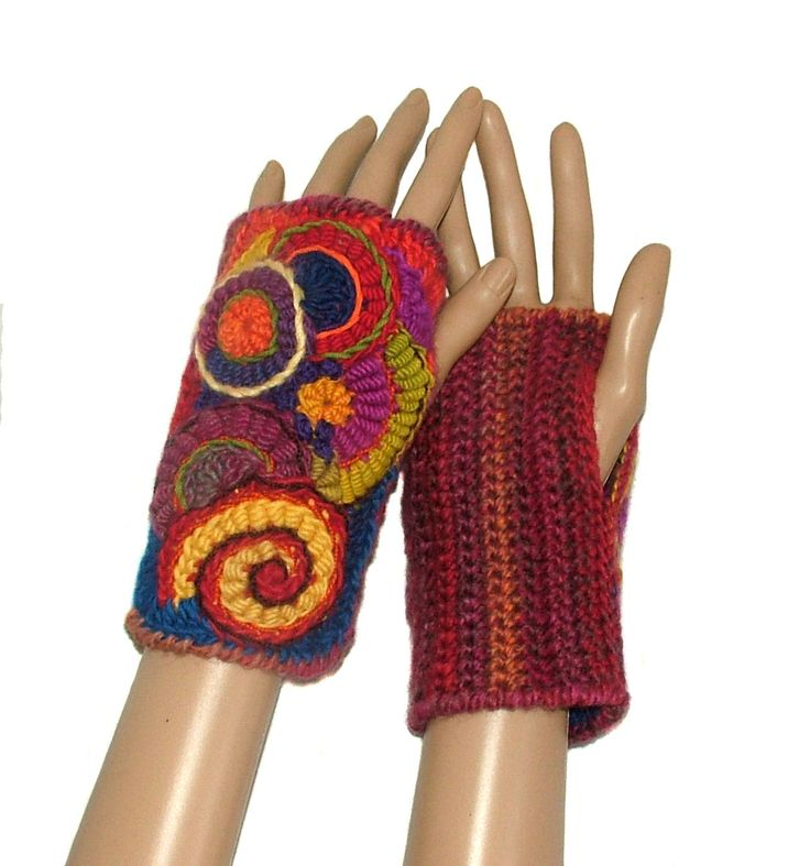 Fingerless Gloves Mittens Freeform Crochet Women's OOAK Wearable Art in rainbow colors by rensfibreart on Etsy