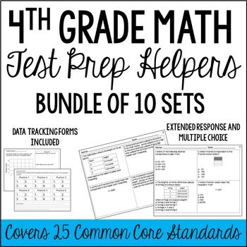 This resource is a bundle of all of my 4th Grade Math Test Prep Helpers that are aligned to the Common Core standards. This is a rigorous review that will help prepare your students for state assessments.You can find the 5th grade version by clicking hereThis bundle includes the following sets: Operations and Algebraic Thinking Set  Place Value, Representing, and Rounding Whole Numbers Set  Operations with Whole Numbers Set  Comparing Fractions and Equivalent Fractions Set  Adding and…